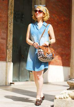 outfit: denim dress