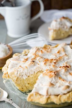 Coconut Cream Pie with a thick luscious coconut cream filling and a meringue top!