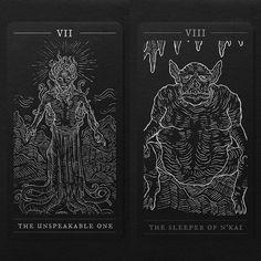"""Hastur"" and ""Tsathoggua"" cards, two more to go! #darkprovidence #darkart #mono…"