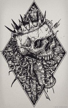 Seahorse by timur khabirov, via Behance Dark Artwork, Skull Artwork, Satanic Art, Skeleton Art, Arte Obscura, Skull Wallpaper, Occult Art, Gothic Art, Dark Fantasy Art