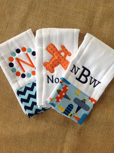 Set of 3 Personalized Burp Cloths  Diaper Cloths  by Rubyandoliver, $34.00