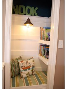 closet conversion to super secret reading nook...