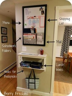 Command center, dont need bag storage as that will be in mudroom or entrance, just organisation stuff Family Command Center, Command Center Kitchen, Kitchen Message Center, Diy Casa, Ideas Para Organizar, Family Organizer, Life Organization, Organization Station, Entryway Organization