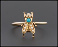 Antique 14k Gold Turquoise & Pearl Fly or Bee Stick Pin Conversion Ring by TrademarkAntiques on Etsy https://www.etsy.com/listing/229217956/antique-14k-gold-turquoise-pearl-fly-or