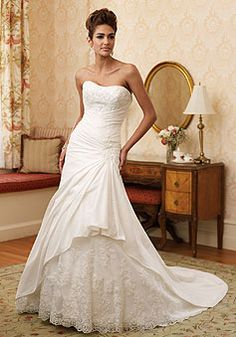 Taffeta A-line Strapless With Lace And Beads Chapel Train Wedding Dress picture 1