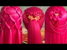 Тренды причёсок 2017 Модные причёски для детей / Сердечко из косы Цветок из волос Прическа сеточка - YouTube