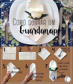 Já aconteceu de você marcar um jantar e não saber como deixar a mesa diferente? Aqui damos uma dica de como dobrar os guardanapos de tecido que, com certeza, vai acrescentar muito charme a sua mesa!