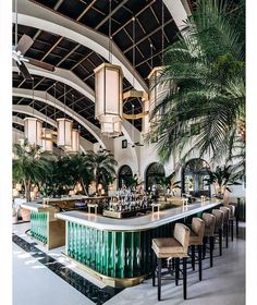 Цвет барного стола идеально подходит для морского курорта из-за его сходства цветов с океанскими водами. Внутренние растения придают пространству приключенческую, дикую атмосферу, которая является редкой концепцией для отеля.