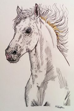 White Horse Original Painting by MeganHumphriesArt on Etsy