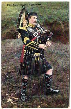 Pipe Major Seaforth Highlanders, wearing McKenzie tartan. My mother's clan