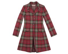 cabbages and roses - asymmetric tartan coat.