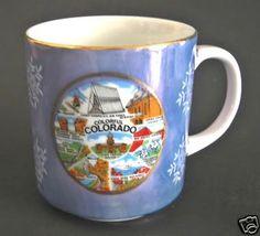 Colorado Blue Metallic Coffee Cup Mug State Parks 8 oz Holiday Snowflakes