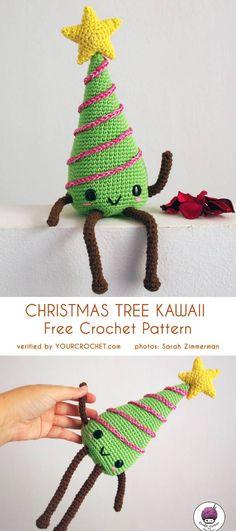 tree kawaii amigurumi free crochet pattern – Your Crochet Christmas Tree Yarn, Different Christmas Trees, Christmas Tree Pattern, Christmas Crochet Patterns, Holiday Crochet, Noel Christmas, Christmas Knitting, Christmas Toys, Christmas Ornaments