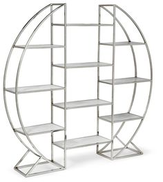 Regina Andrew | Polished nickel and white marble hoop shelving unit.