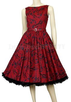 50s Mad Men RED Floral Boatneck Swing Dress ~ Retro Rockabilly Pinup Vintage 7046a36b7824
