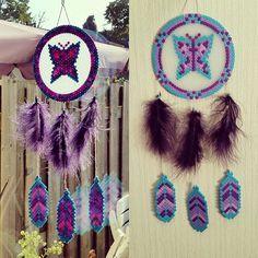 Butterfly dreamcatcher perler beads by sistyria