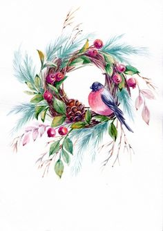 63 Best Ideas for bird watercolor clipart - - Watercolor Christmas Cards, Christmas Drawing, Christmas Paintings, Wreath Watercolor, Watercolor Bird, Watercolor Paintings, Oil Painting Flowers, Fabric Painting, Bird Artwork