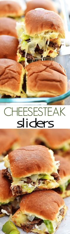 Mini slider sandwiches loaded with steak, cheese, peppers and onion! Mini slider sandwiches loaded with steak, cheese, peppers and onion! Mini Sliders, Slider Sandwiches, Sliders Burger, Steak Sandwiches, Beef Sliders, Chicken Sliders, Beef Recipes, Cooking Recipes, Side Dishes