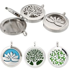 Perfume 1PC Essential Oils Box Diffuser Locket Stainless Steel Hollow Locket Silver Aromatherapy Lockets Pendant Without Chains #Affiliate