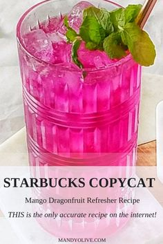 Dragon drink or mango dragonfruit refresher? This starbucks copycat recipe will . - Breakfast and Brunch Healthy Starbucks Drinks, Starbucks Recipes, Coffee Recipes, Starbucks Flavors, Vegan Starbucks, Dragon Fruit Lemonade, Dragon Fruit Drink, Dragon Fruit Smoothie, Coconut Milk Recipes