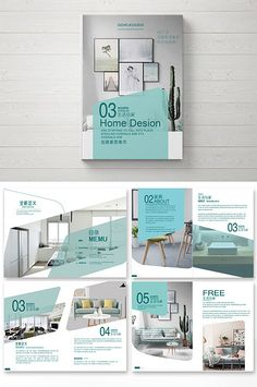 Fashion green simple atmosphere home Brochure design Magazine Design, Graphic Design Magazine, Graphic Design Brochure, Brochure Layout, Corporate Brochure, Corporate Design, Brochure Template, Poster Art, Design Poster