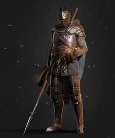 """Another Dark souls fan art. This time I mostly took inspiration from the """"Knight"""" & """"Herald"""" character classes from Rendered in Marmoset Toolbag Concepts I mostly based this dude on : Medieval Knight, Medieval Armor, Medieval Fantasy, Dungeons And Dragons Characters, Dnd Characters, Fantasy Characters, Fantasy Armor, Dark Fantasy Art, Fantasy Inspiration"""