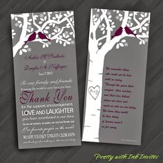 Thank You Verse Programs and/or Menus for by PrettyWithInkInvites, $20.00