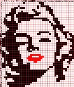 Marilyn Monroe Cross Stitch Art, Beaded Cross Stitch, Cross Stitch Designs, Cross Stitch Patterns, Pixel Crochet, C2c Crochet, Crochet Chart, Graph Paper Art, Paper Collage Art