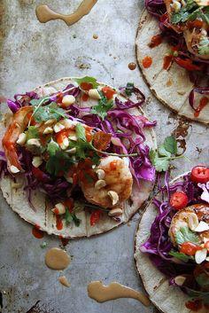 Thai Shrimp Tacos  *substitute peanut butter for sunflower butter