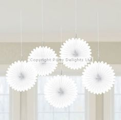 White Hanging Fan Decorations - 15.2cm