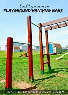 DIY playground hanging bars: Full tutorial on how to add hanging bars to a set o. - DIY playground hanging bars: Full tutorial on how to add hanging bars to a set o… – Tera Wirema - Backyard Jungle Gym, Backyard Playset, Backyard For Kids, Diy Bar, Hanging Bar, Diy Hanging, Playground Bar, Diy Monkey Bars, Outdoor Play Spaces