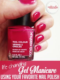 Mix gel with nail polish for a manicure that lasts three weeks! Better than shellac. I've GOT to try this. entirelyeventfulday.com #nails #beauty