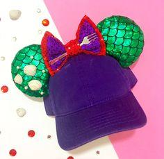 The little mermaid princess Ariel Disney inspired Minnie Mickey Mouse ears Diy Disney Ears, Disney Diy, Disney Crafts, Cute Disney, Disney Style, Ariel Disney, Mickey Mouse Ears Hat, Disney Mickey Ears, Disneyland Ears