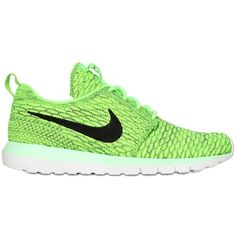 NIKE Flyknit Roshe Run Sneakers - Neon Green ($105) ❤ liked on Polyvore featuring mens, men's shoes, men's sneakers and neon green