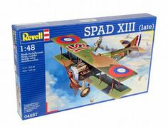 The Revell Spad XIII Late Version Model Kit in 1/48 scale from the plastic aircraft models range accurately recreates the real life French biplane fighter aircraft flown during World War I.  This plastic aircraft kit requires paint and glue to complete.