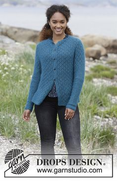 Song of the Sea Cardigan - Knitted jacket with raglan, lace pattern, garter stitch and split in the side, worked top down. Sizes S - XXXL. The piece is worked in DROPS Kid-Silk. - Free pattern by DROPS Design Crochet Hats For Boys, Baby Hats Knitting, Baby Knitting Patterns, Free Knitting, Knitting Stitches, Hat Crochet, Crochet Pattern, Stitch Patterns, Drops Design