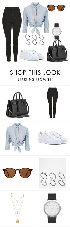 """Untitled #337"" by charlotte-down on Polyvore featuring Yves Saint Laurent, Topshop, adidas, Ray-Ban and ASOS"