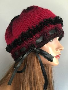 Beanie Slouch Ombre Hand Knit Burgundy Black Designer Fashion Female Winter Hip  | eBay