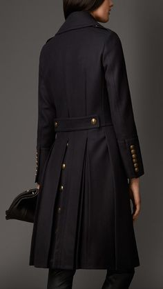 Burberry London Wool Blend Fitted Military Coat