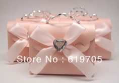 FREE SHIPPING 100pcs/lot  Gold Pink  Elegant candy Bag with Crystal Favors box Wedding favor Party candy  box Anniversary gifts $79.00