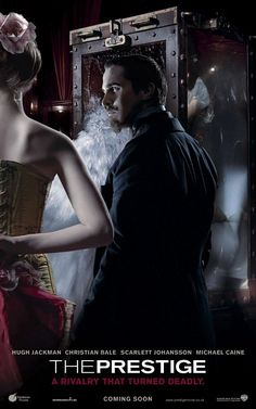 The Prestige , starring Christian Bale, Hugh Jackman, Scarlett Johansson, Michael Caine. The rivalry between two magicians becomes more exacerbated by their attempt to perform the ultimate illusion. Christian Bale, The Prestige Movie, Le Prestige, Christopher Nolan, Internet Movies, Movies Online, Top Movies, Great Movies, Hugh Jackman