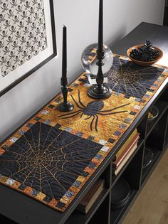 Halloween table runner by Susan Brubaker Knapp as seen at Quilting Daily