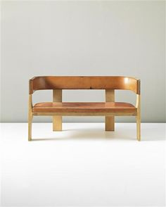 H.I. Gruppen, pine, leather and brass settee, c1960