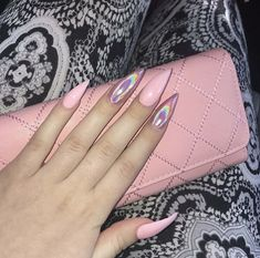 Mix match pink and chrome pink nails