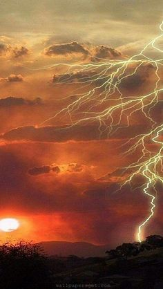 Lightening at sunset