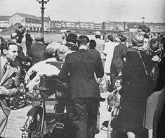 1943. Jewish citizens on their way to an assembly point near the Muiderpoort station. #amsterdam #worldwar2