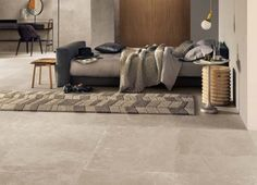 A pale sandy porcelain reproduction of a limestone flagstone. Stunning flooring option.  #limestone #flooring #porcelain