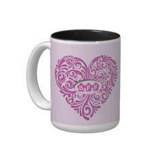 Personalized Pink BFF Heart Mug