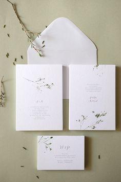 Botanical watercolor wedding invitations #BridesMagazine