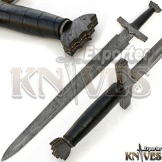 "41"" NEW AWESOME VIKING DAMASCUS STEEL SWORD / LEAHTER WRAP WOODEN HANDLE KE-S18 #KNIVESEXPORTER"